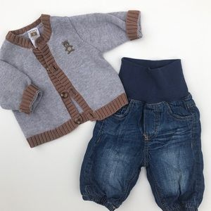 Carters Teddy Cardigan and H&M Jeans 0-3 month